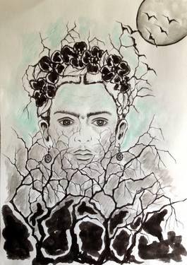 "Saatchi Art Artist Leyla Özlüoğlu; Painting, ""dream of Frida"" #art #drawing #painting #portrait #frida #love #fridakahlo"