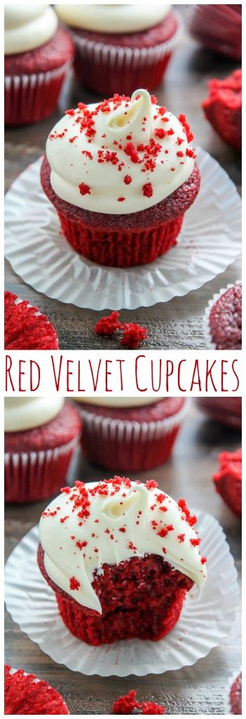 If you like red velvet, you're going to LOVE these supremely moist red velvet cupcakes topped with luscious cream cheese frosting.