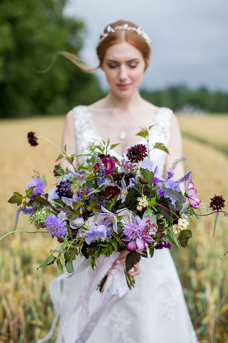 Bouquet Flowers Bride Bridal Large Lilac Wild Ribbon Natural Ethereal Purple Wedding http://www.katherineashdown.co.uk/
