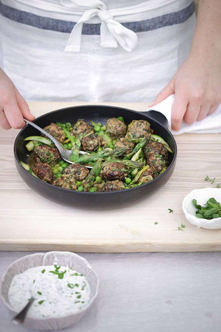 A delicious recipe for Minted Lamb Meatballs with spring asparagus and fresh peas.