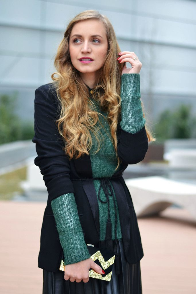 Black blazer and cozy sweater