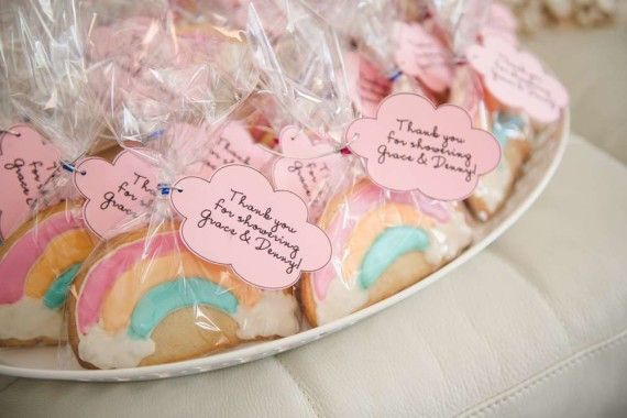 Unicorn Baby Shower Theme rainbow cookies favors