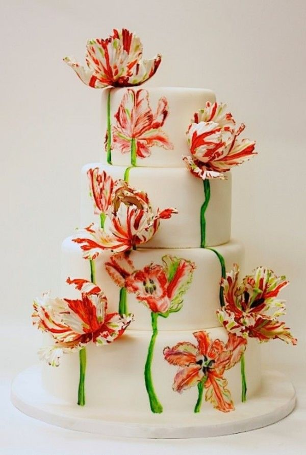 Showstopping hand painted parrot tulip wedding cake