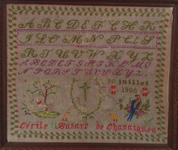 An Early 20th Century FRENCH Sampler Stitched By Cécile BALARD DE CHANNIGNES & Dated 1906