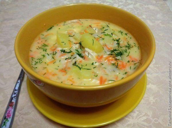 http://royalfeast.ru СЫРНЫЙ СУП С КУРИНЫМ ФИЛЕ Нам понадобится: - 5-6 картофелин среднего размера - 1 крупная луковица - 1-2 моркови - 2 куриных филе - 150 г риса (желательно длиннозерного) -...