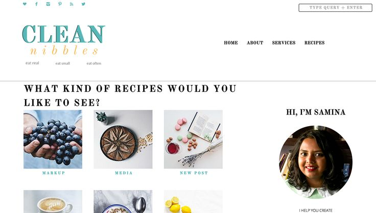 A custom designed recipe - index page that shows the different categories that are available on the blog from which the readers can choose to get a wider choice of narrowed down recipes. Custom coded and designed for Clean Nibbles. Click to get more info on the design of the blog.