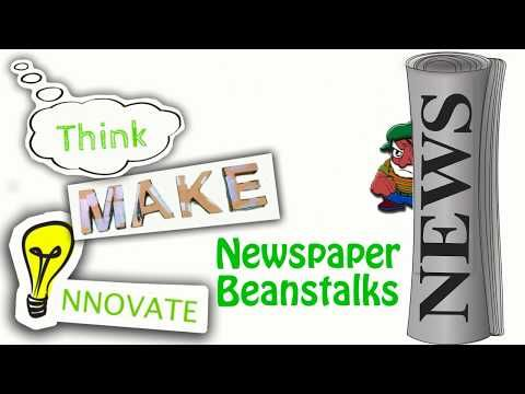 Think, Make, Innovate: Newspaper Beanstalks - YouTube   #makerspace #stem   This #maker challenge focuses on students creating #newspaper towers that look like beanstalks that can carry the weight of a giant, like in the story of Jack in the Beanstalk.