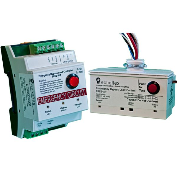 """The EREB-A Emergency Bypass Load Controller is a UL 924 listed device that is powered from an emergency source and provides power to emergency lighting load(s). The controller ensures a """"lights on state"""" during loss of normal power while tracking the state of normal lighting loads during normal operation. The EREB-A also assures a """"lights on"""" override by utilizing a normally closed emergency contact closure which interfaces with fire alarms and emergency systems."""