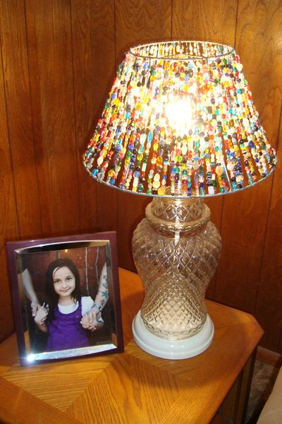 DIY Beaded Lampshade made on on an old lampshade frame