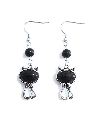 Silver Metal Cat Earrings with Black Stone and Glass Beads by Pornoromantic