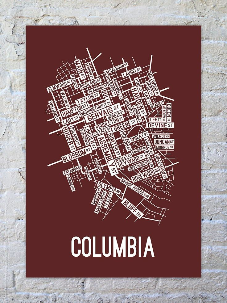 Columbia South Carolina Street Map Print 14