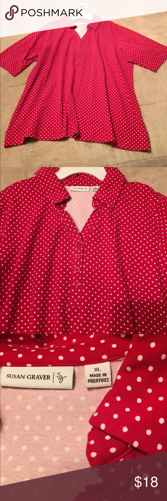 Susan Graver red and white polka dot top Susan Graver polka dot top with collar, buttons at neckline, quarter sleeve, NEW without tags as seen on QVC Susan Graver Tops Tees - Short Sleeve