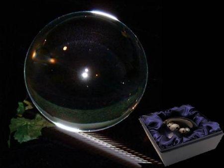 Kristallen bol + voet glas - 15 cm - Meditatie