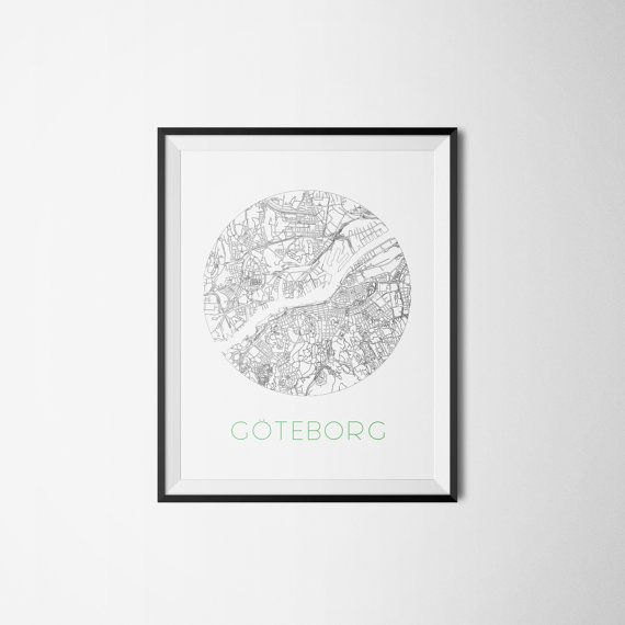 Göteborg Gothenburg city map Sweden Art print A3 by Itchyprints