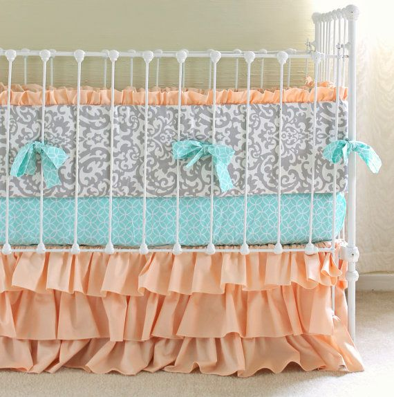 peach and gray crib bedding set by lottiedababy baby fever pinterest the o 39 jays gray and. Black Bedroom Furniture Sets. Home Design Ideas