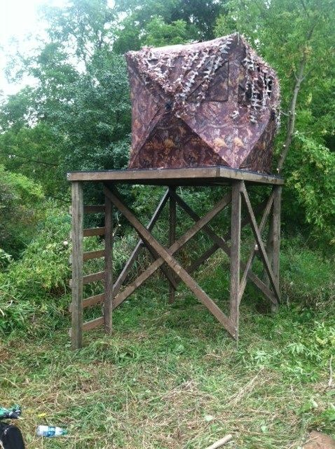 Anyone make a platform for pop up blind venison hunting for Deer hunting platforms