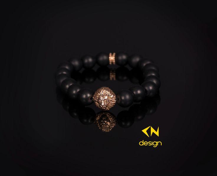 Head Of Lion & Matt Onyx Charm Bracelet by Cndesignofficial on Etsy https://www.etsy.com/listing/260552020/head-of-lion-matt-onyx-charm-bracelet