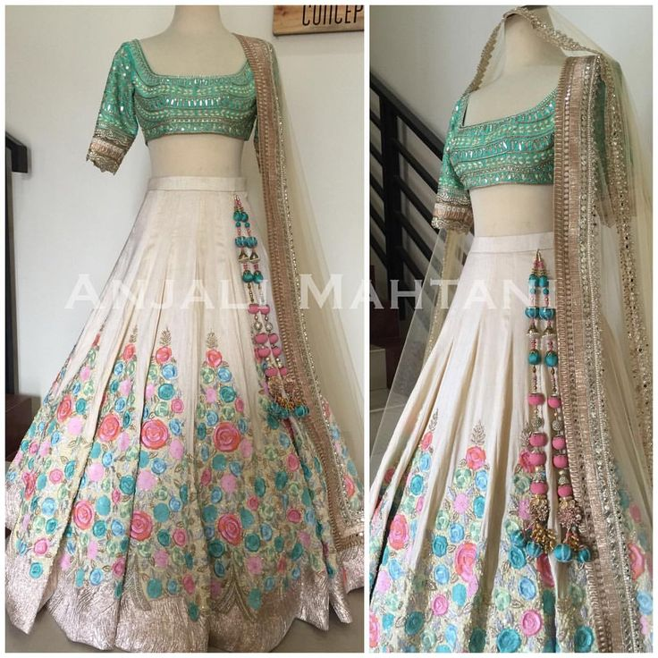 Pastels and Creams🍥🐚🌸- Hand embroidered threadwork Lehenga with Gotha Pati…