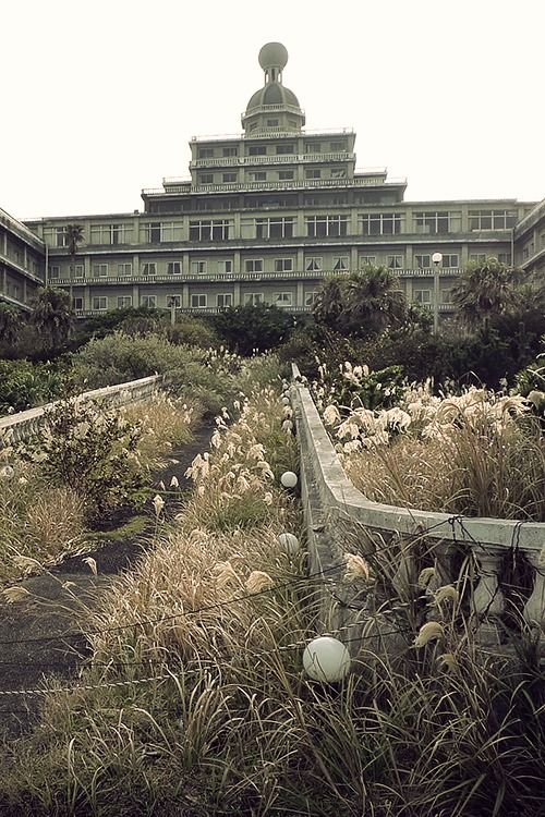 Abandoned Imperial Hotel on the island of Hachijojima, Tokyo, Japan. Although it's only been abandoned for about 6 years, it's deteriorating rapidly because of the subtropical climate.