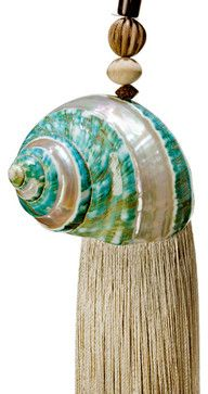 Banded Green Turbo Shell Tassel & Curtain Tieback tropical-window-treatments