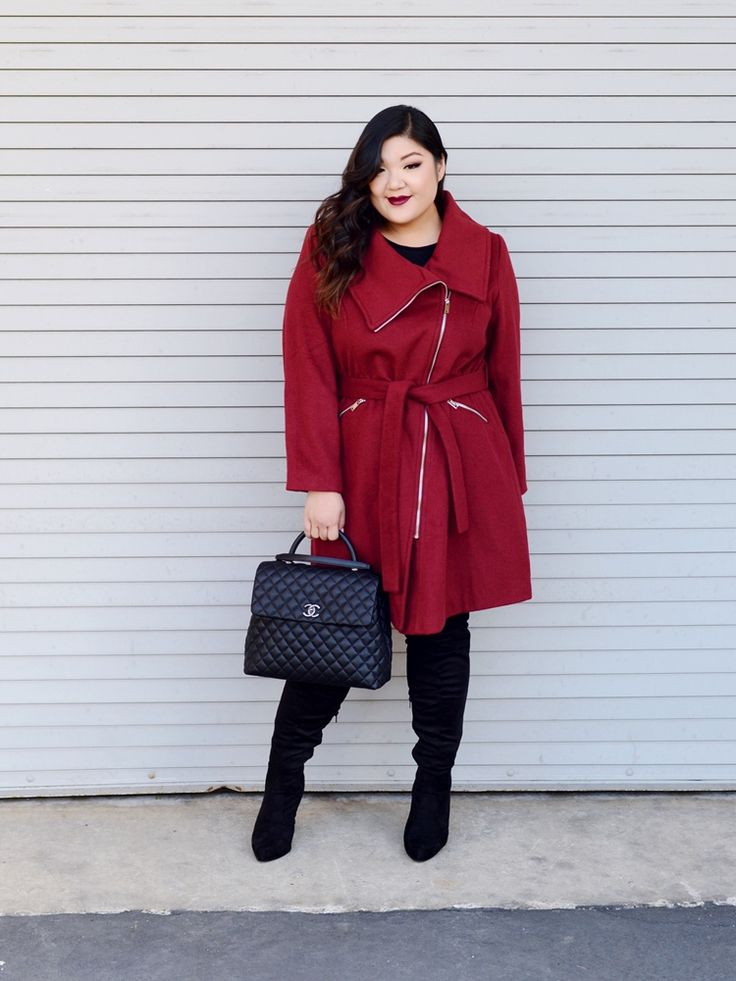Curvy Girl Chic Ellos Coat Wide Calf Over The Knee Boots