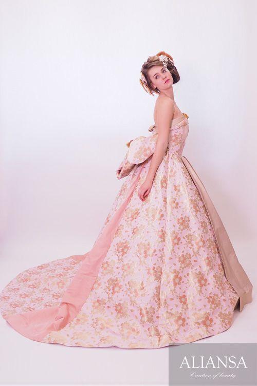 和ドレス 着物ドレス 淡桜