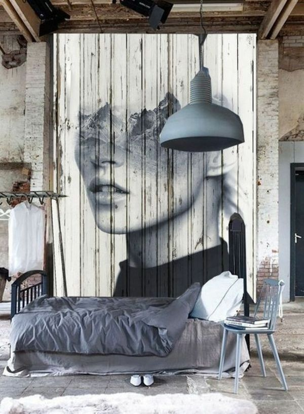 regal glas ideen holz raumtrenner vorhang graffiti