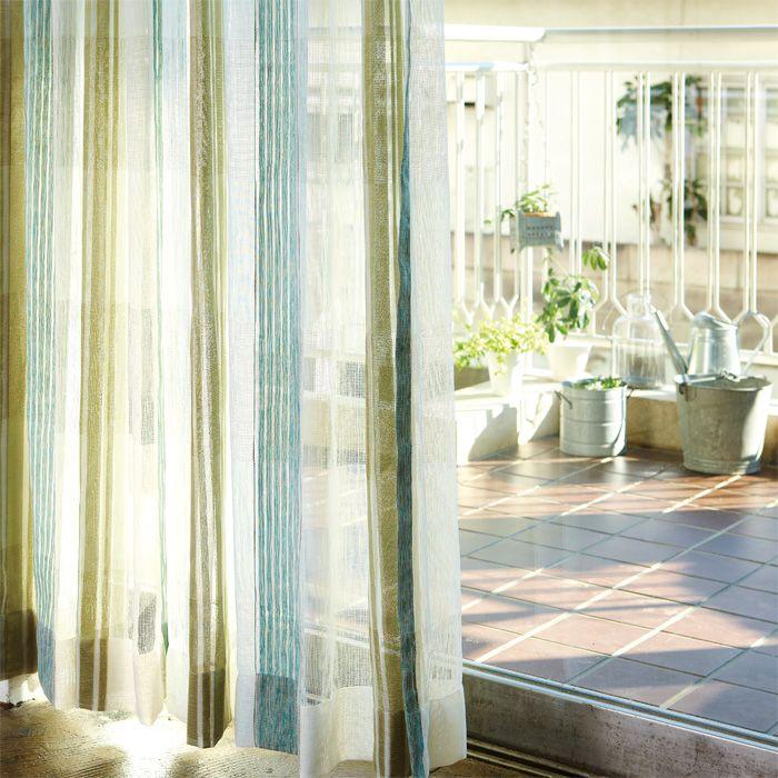 【ナチュラルシリーズ】和室にも似合う・大胆なストライプの青色と緑のグラデーションレース<Aydin アイディンレース>  カーテン通販【Curtains】