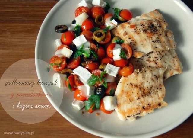 Grillowany kurczak z pomidorkami i kozim serem