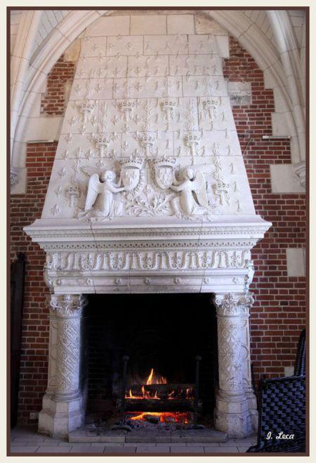 le château d'amboise: Dans bon nombre de pièces, on retrouve les décorations à l'effigie de Charles VIII et d'Anne de Bretagne, tel que sur la cheminée de la salle de Conseil, décorée de la fleur de lys et de l'épée flamboyante de Charles VIII et de l'hermine d'Anne de Bretagne.