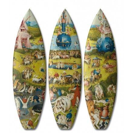 kunstige surfplank Jeroen Bosch - Tuin der Lusten - surfboard - boom-art