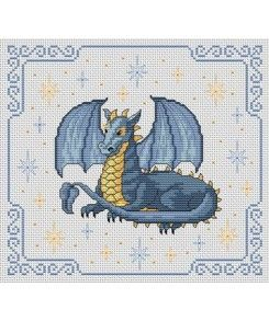 dragon, sitting, wings spread, picture, medium, cross-stitch