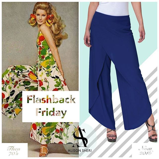 Palazzo pants were avant-garde in the 30s and 40s but became super trendy in the 70s. Last summer they made a comeback and they are here to stay this season!  With a boho/hippie vibe you should definitely get a pair since they are just as comfortable as sweatpants but more stylish. #flashback #FBF #FashionFriday — Les pantalons Palazzos étaient avant-garde dans les années 30 et 40, mais étaient super tendances dans les années 1970s. L'été dernier, ils sont réapparus et ils ne disparaitront…