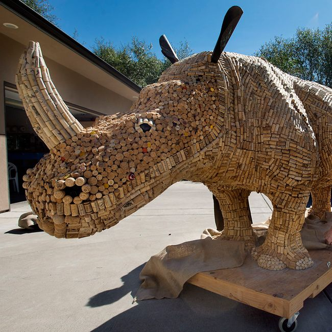 Huge rhino made from wine corks turns good libations into good works.  LOL, I was looking for a new craft for my wine corks!