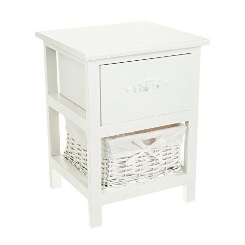 Small White Side Table Wooden Shabby Chic Bedside Cabinet Lamp Stand Basket Unit