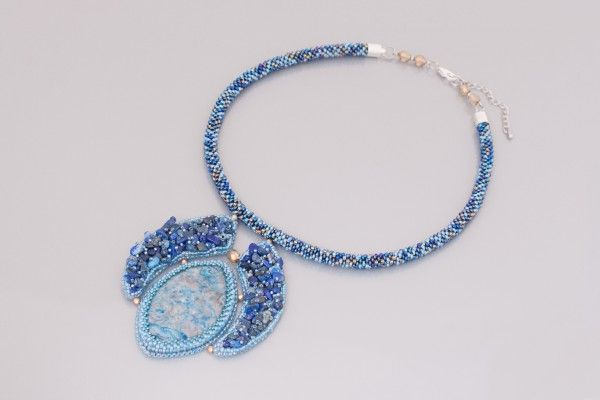 Necklace with beaded rope