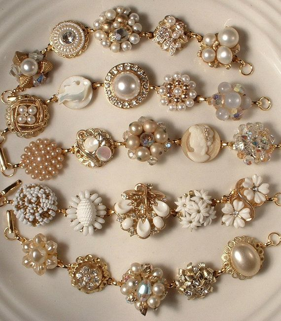 Bracelets made from vintage earrings.: Cluster Earrings, Idea, Jewelry Crafts, Gold Rhinestone, Vintage Costume Jewelry, Diy Bracelets, Vintage Costumes Jewelry, Vintage Earrings Lov, Vintage Jewelry