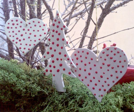 Handpainted Wooden Christmas Ornaments Hearts and Tree White with Red Dots