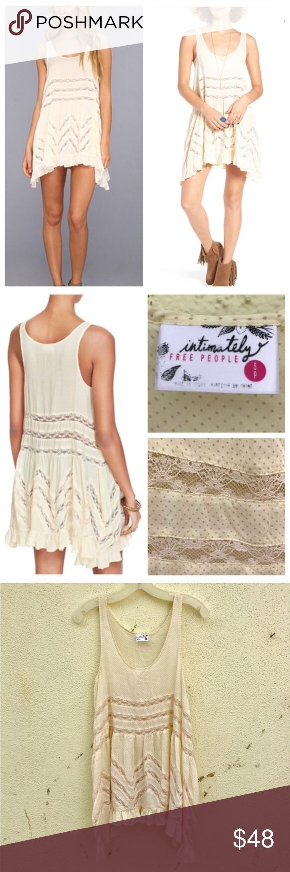 FREE PEOPLE TRAPEZE SLIP DRESS Voile cream LACE s A flowing design with a feminine silhouette, the voile and LACE slip top/dress from FREE PEOPLE is perfect whether worn alone or with you favorite cardi or boho jacket. Pair up with a bralette/bandeau, tank or even layer with thermal.  With jeans, shorts, leggings or just boots, this piece is versatile season to season. Polka dot print pattern. Cream color with LACE inserts. Scoop NECK, sleeveless. Asymmetrical hemline. SZ SMALL (n10) Free…
