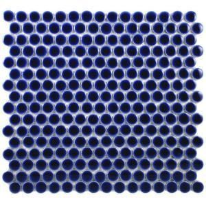 Merola Tile, Penny Round 12 in. x 12-1/4 in. Cobalt Porcelain Mesh-Mounted Mosaic Tile, FKOMPR43 at The Home Depot - Mobile