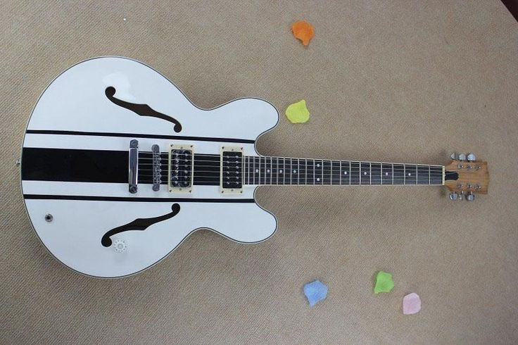 tom delonge eS-333 della chitarra elettrica bianca strisce nere bianco