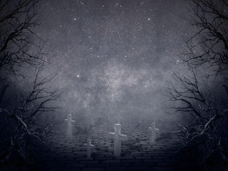 Creepy Night Horror Graveyard Background Free