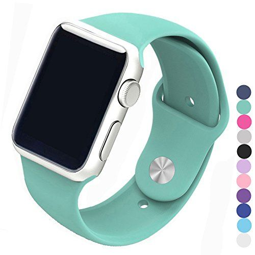 Piwjo Silicone Apple Watch Band and Replacement Iwatch Bands Series 1 Series 2Series 3(Mint Green 38mm M/L)