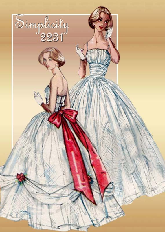 1950s Dress And Gown Pattern Vintage Simplicity 2231