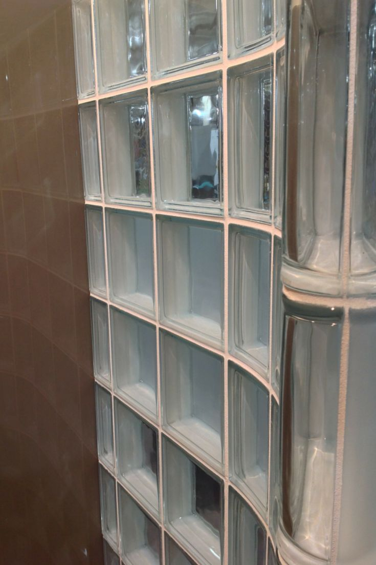 Learn 7 cool uses of glass for a contemporary home. This image shows a clear thinner glass block shower wall. Click here for other glass uses - http://blog.innovatebuildingsolutions.com/2015/06/06/7-cool-glass-contemporary-luxury-home/
