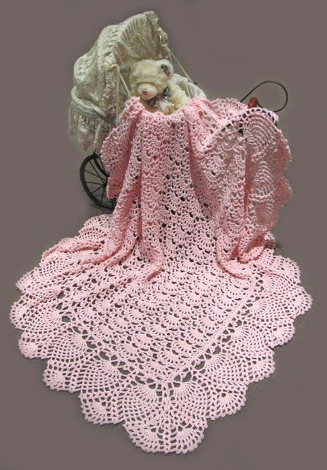 Crochet Stitches In Australia : Pink - Crocheted Baby Shawl - 100% Australia Cotton - Crochet patterns ...