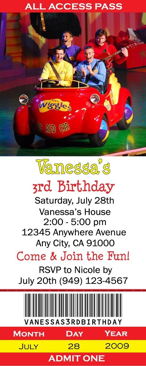 Wiggles party invite