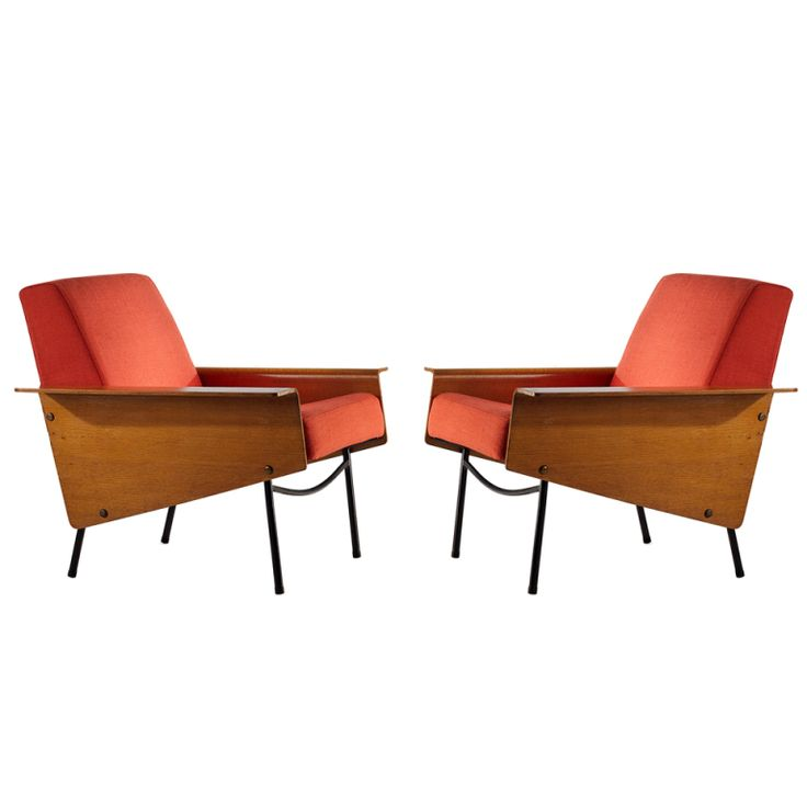 Pair of 'G10' Lounge Chairs  :  Pierre Guariche.  Produced by Airborne.  Molded wood panels, metal legs foam and red fabric.  France      c1954