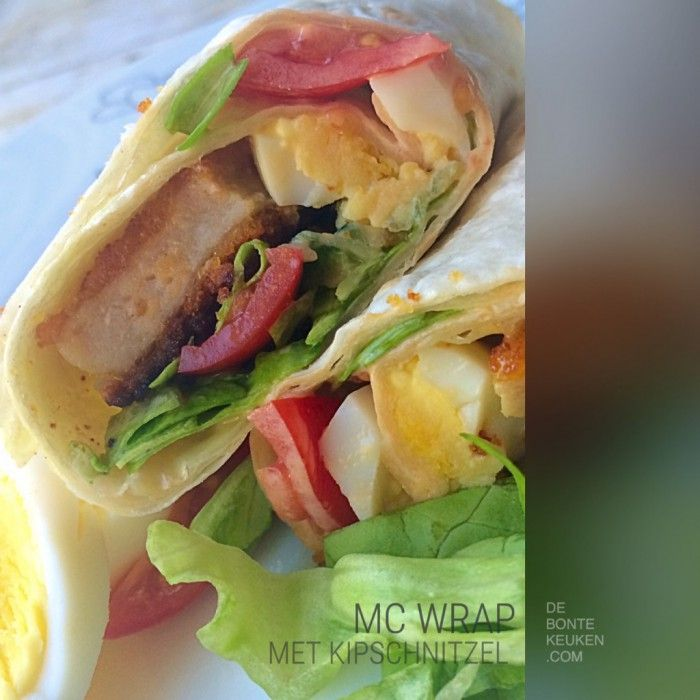 Je eigen gemaakte MC Wrap!  (homemade, makkelijk, avondeten, maaltijd, wrap, kip schnitzels, ei, komkommer, tomaat, ijsbergsla, sla, mayonaise,  honing, mosterd, citroensap, honing-mosterd dressing)