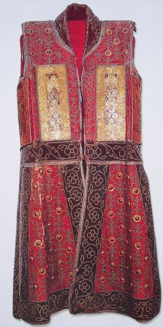 """76945-costume-research-and-more: """" Indian (Rajput) chilta hazar masha (coat of a thousand nails), Armored clothing made from layers of fabric faced with red velvet and studded with numerous small..."""